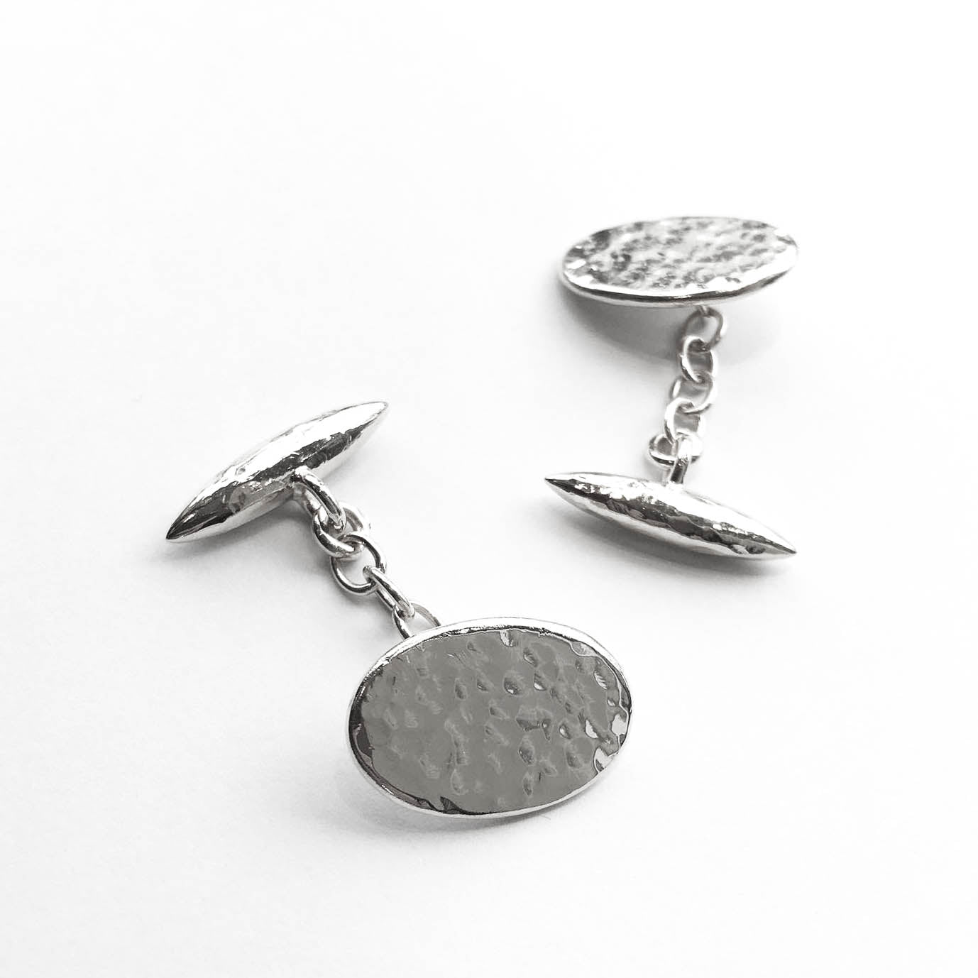 Beaten Bullet & Hammered Oval Cufflinks