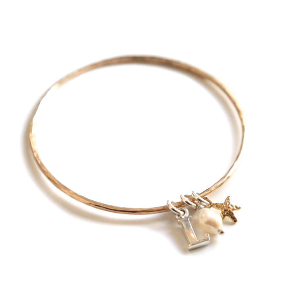 Starfish, Pearl & Initial Bangle
