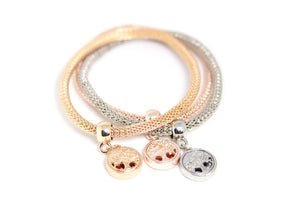 Plated Tri-Gold Charms Bracelet 3pcs