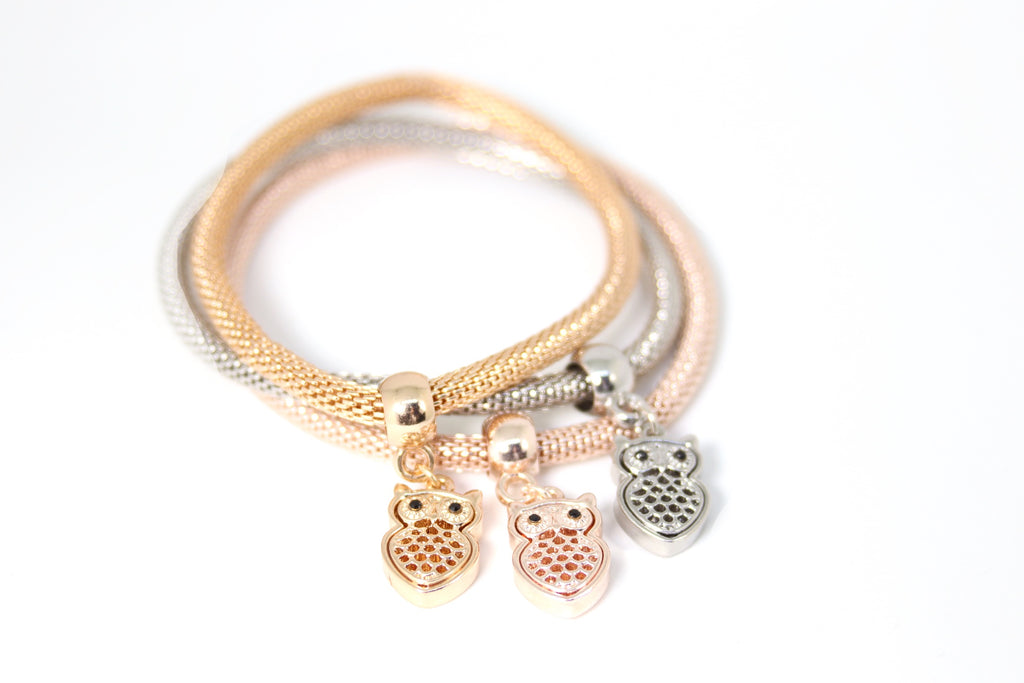 Plated Owl Charms Bracelet 3pcs
