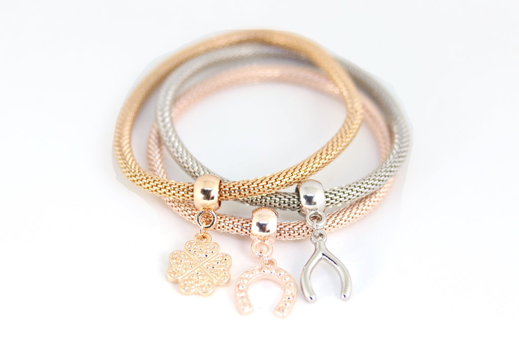 Plated Mixed Charms Bracelet 3pcs