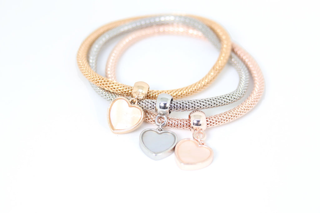 Plated Marbel Heart Charms Bracelet 3pcs