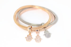 Plated Hand Charms Bracelet 3pcs