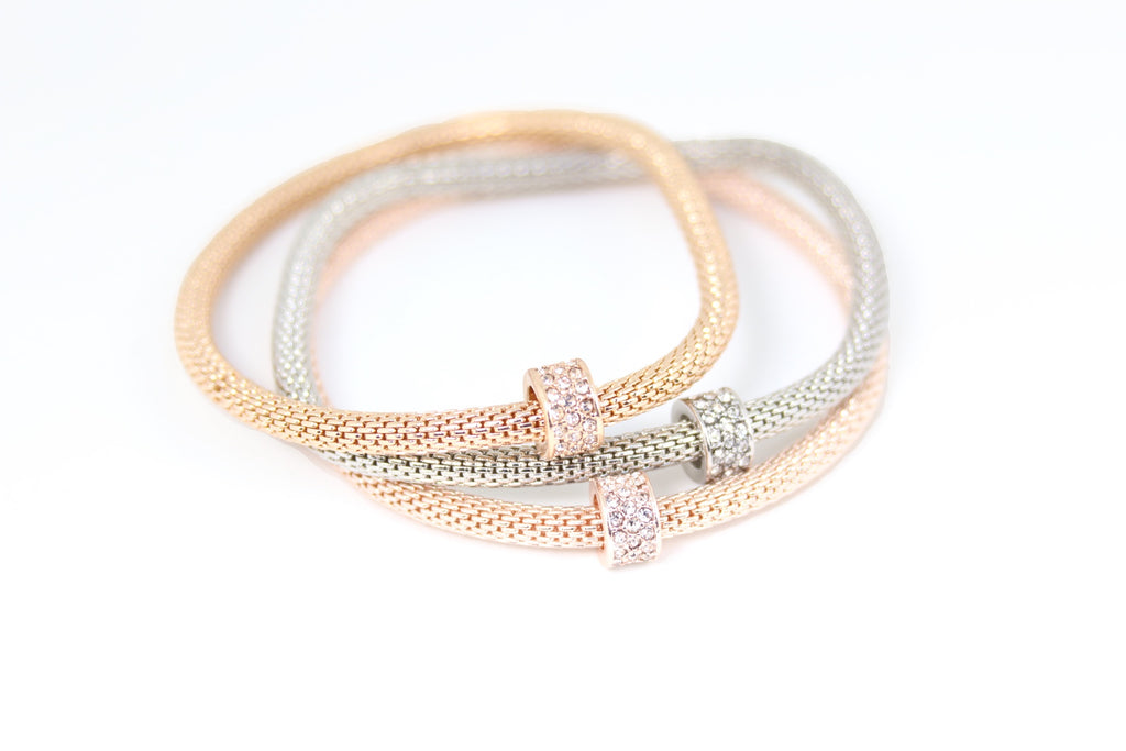 Plated Ring Charms Bracelet 3pcs