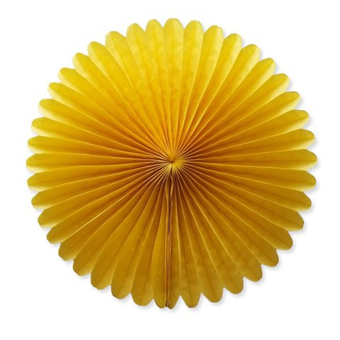 Paper fan 40cm yellow