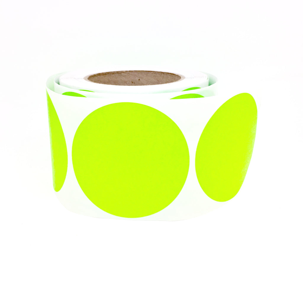 Large round stickers neon green