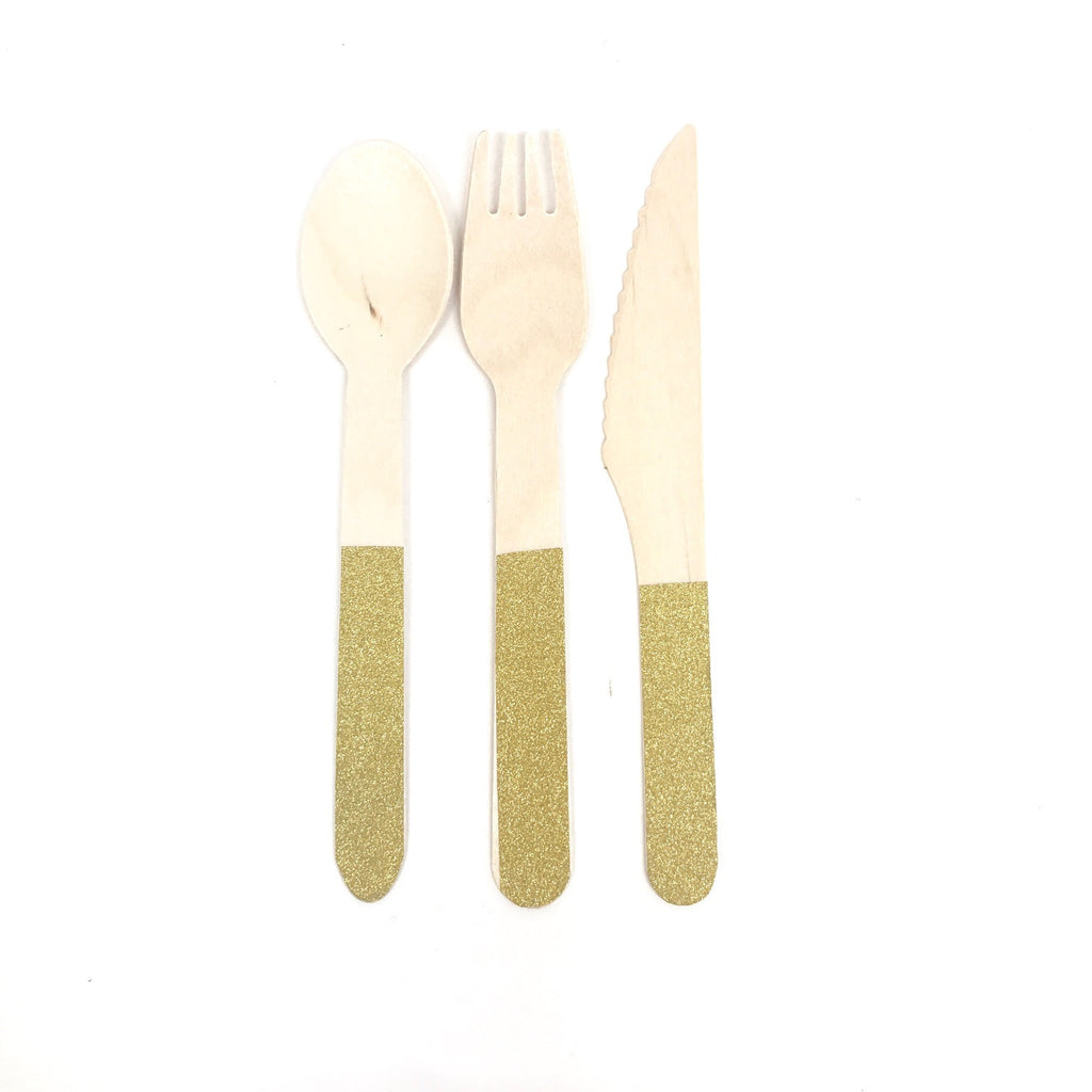 Wooden cutlery gold set