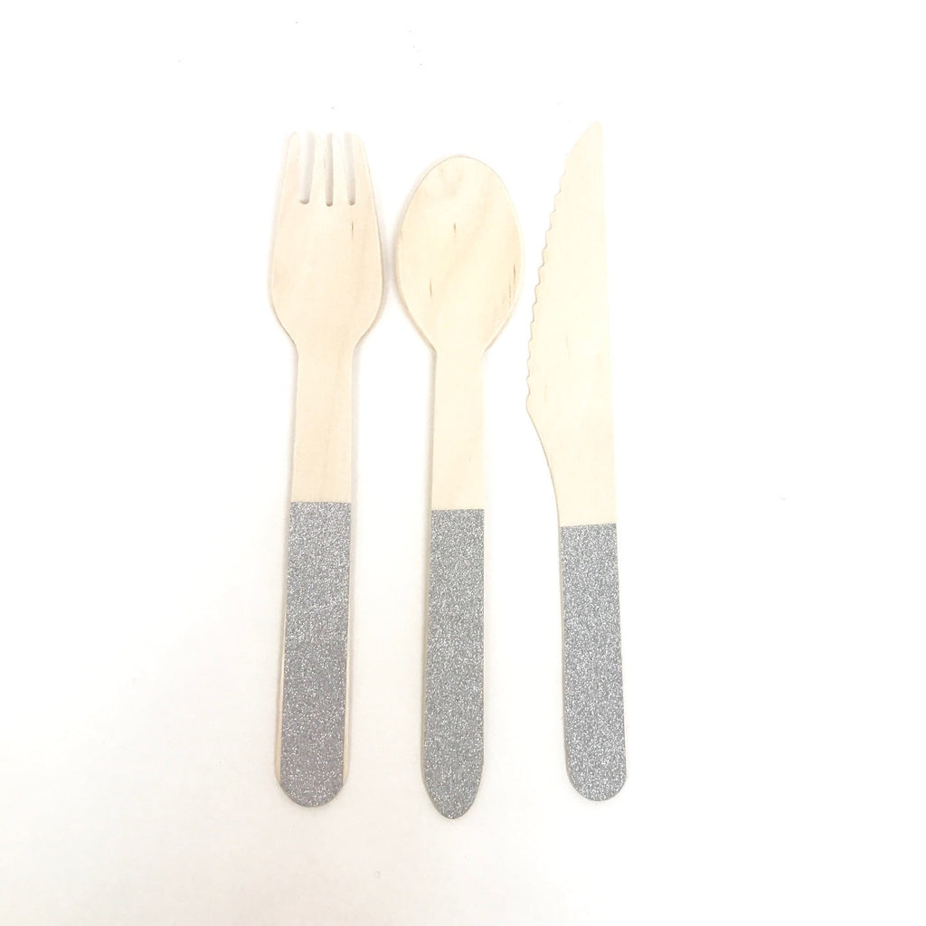 Wooden cutlery silver set