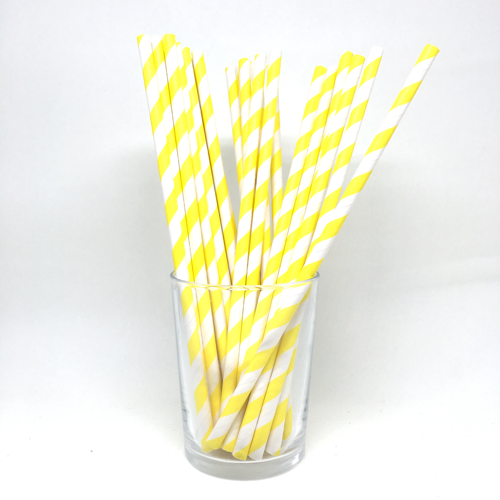 Bright yellow stripe straws