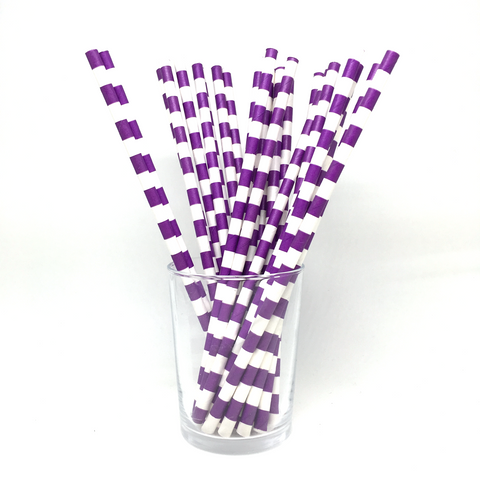 Purple rugby stripe straws