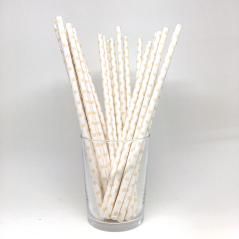 Cream polka dots straws
