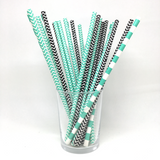 Teal & black straws