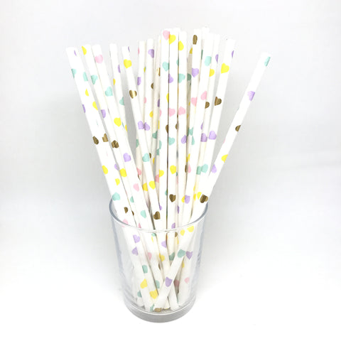 Pastel heart mix straws