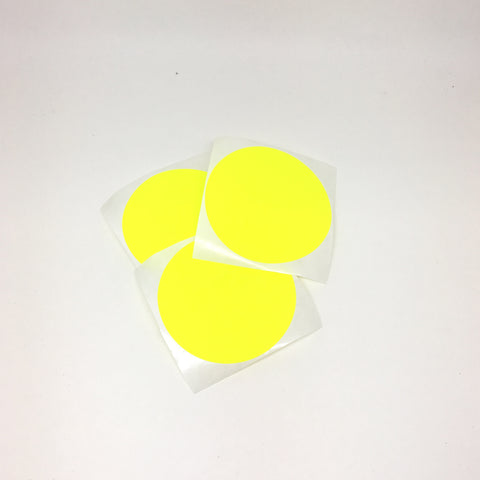Large round stickers neon yellow