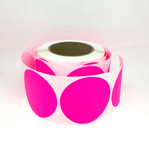 Large round stickers neon pink