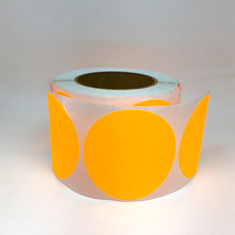 Large round stickers neon orange