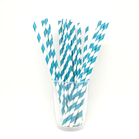 Blue stripes straws
