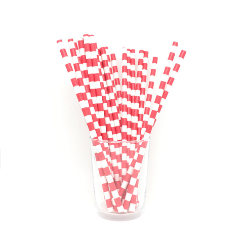 Red rugby stripe straws
