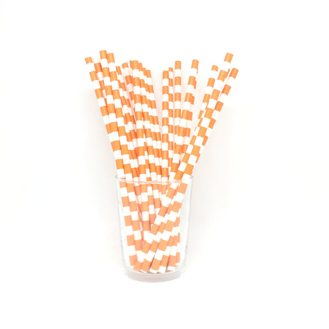 Orange rugby stripe straws