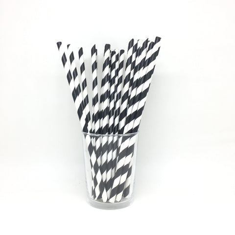 Black stripes straws
