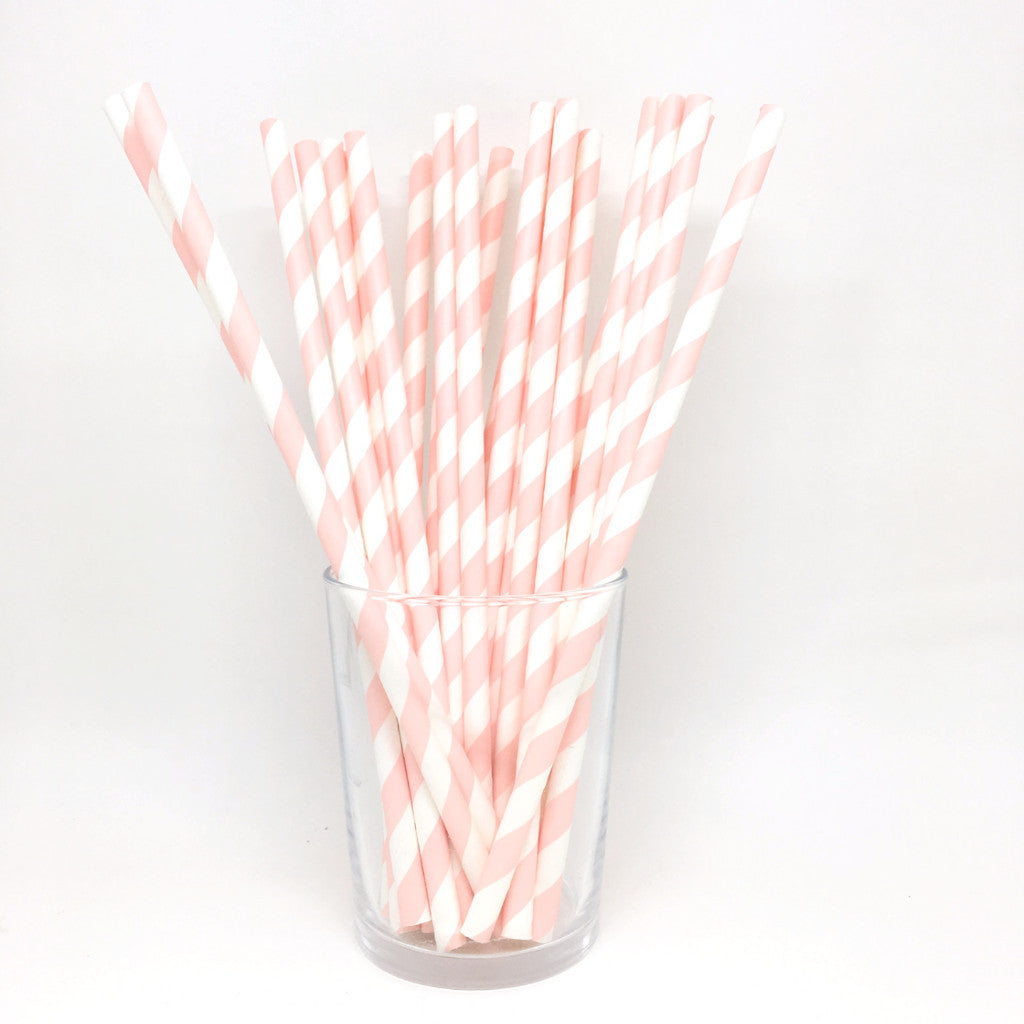 Pink stripes straws