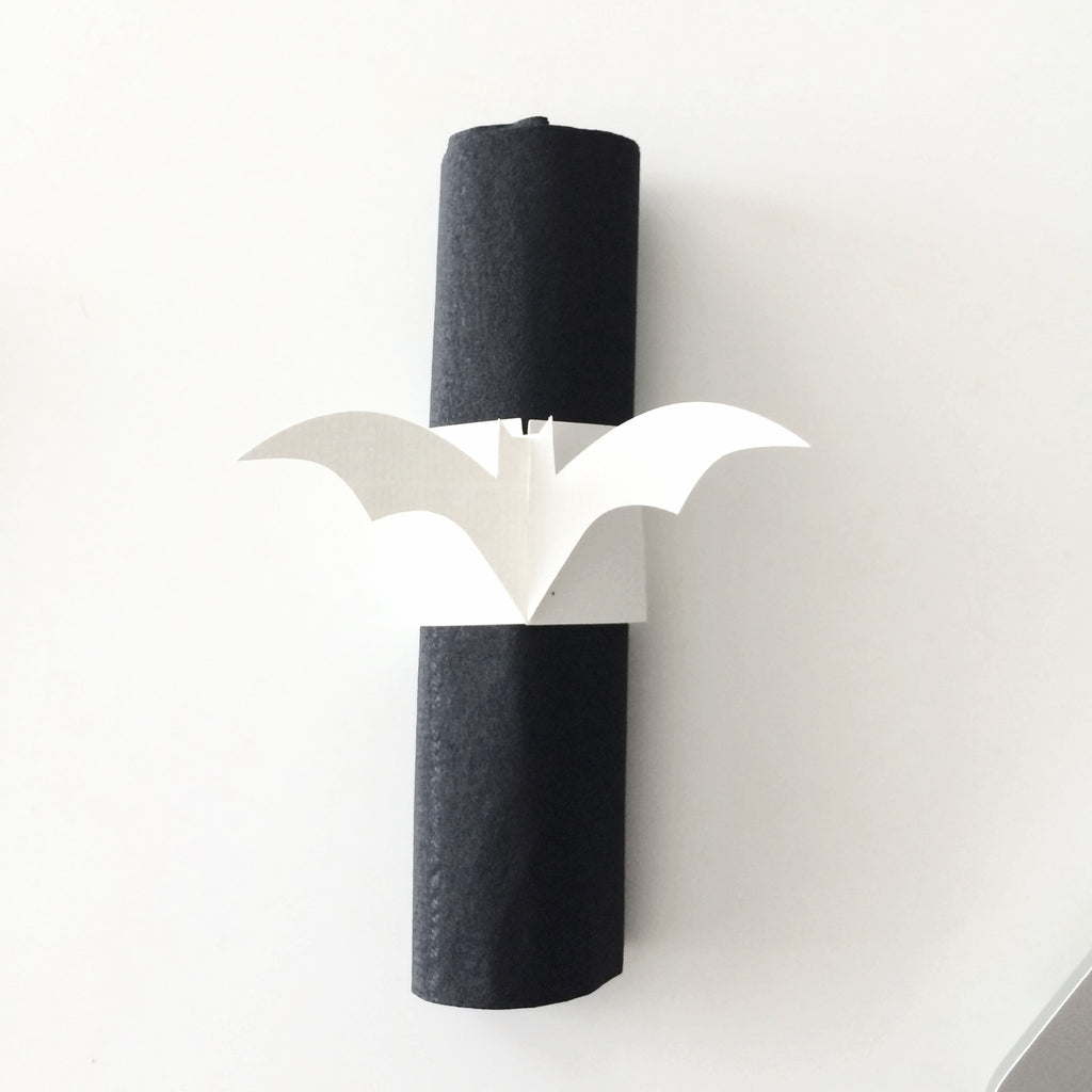 White bats napkins rings