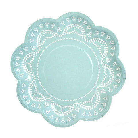 Teal doily plates
