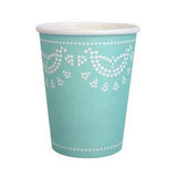 Teal doily cups