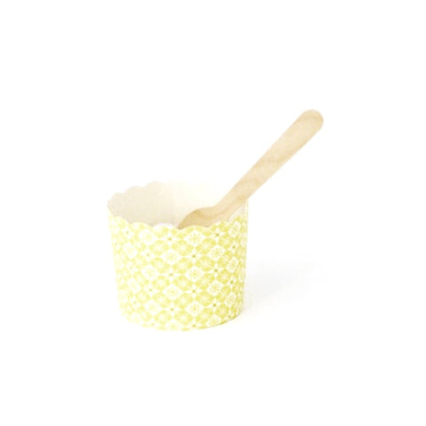 Yellow candy cup & spoons