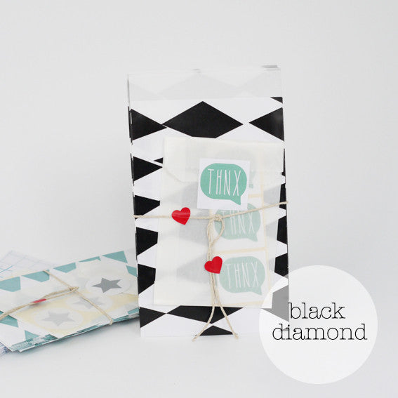 Black diamond party bags