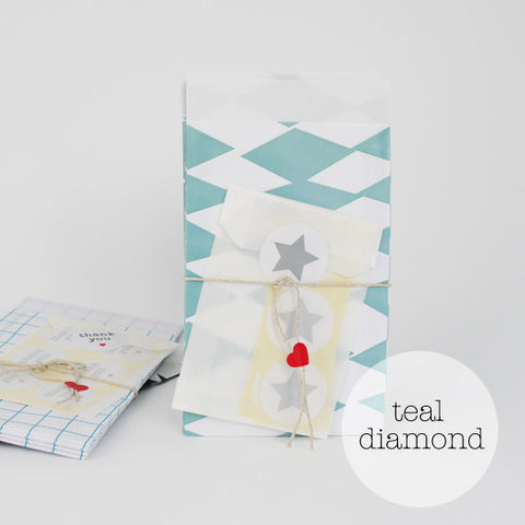 Teal diamond party bags