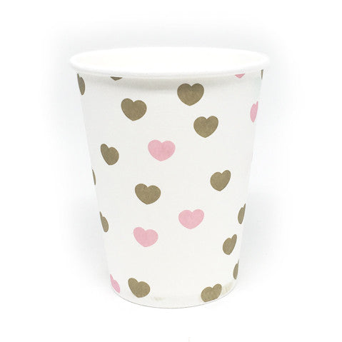 Pink and gold heart cups