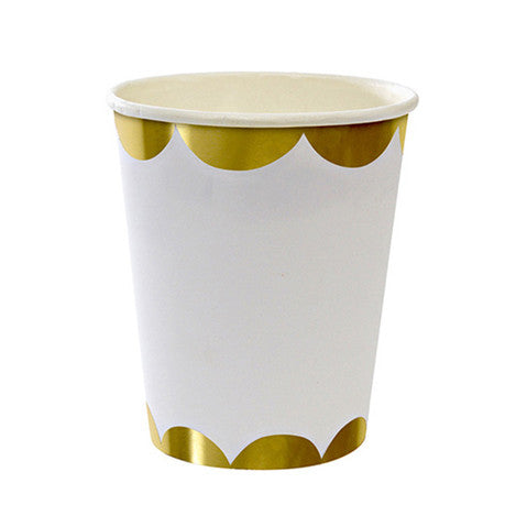 White and gold cups
