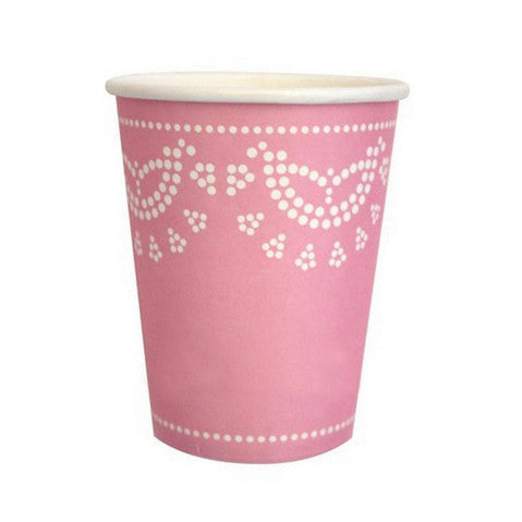 Light pink doily cups