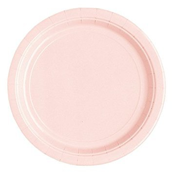20 paper plates solid pastel pink