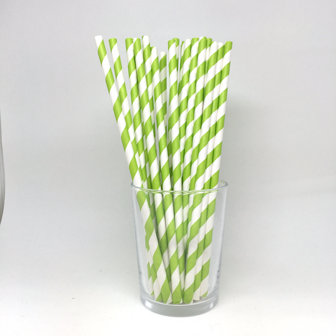 Light green stripe straws