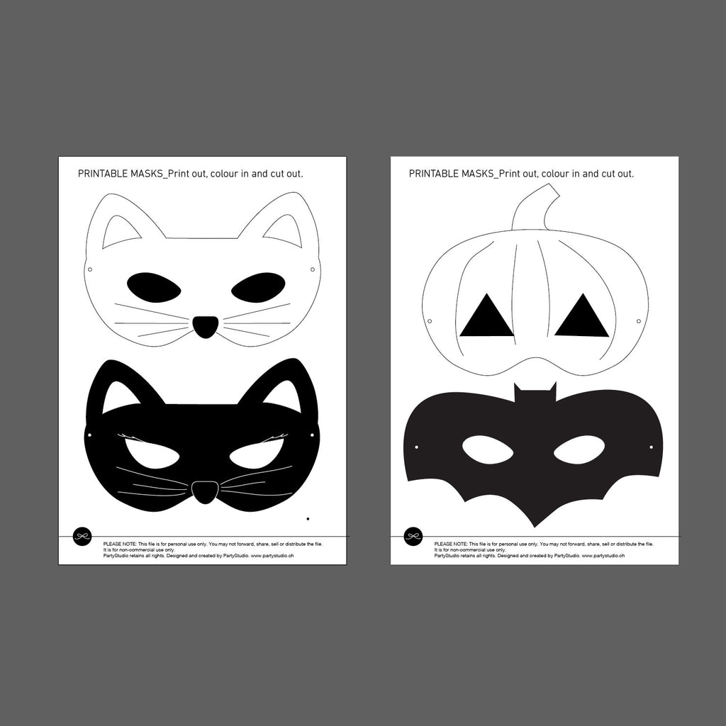 graphic about Free Printable Halloween Masks called Free of charge PRINTABLE HALLOWEEN MASKS partystudio