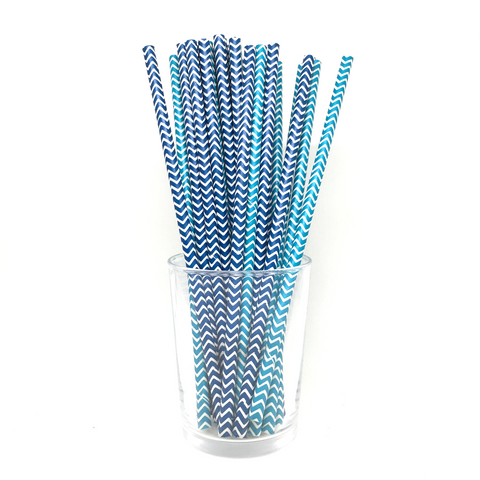 Mix Blue chevron straws
