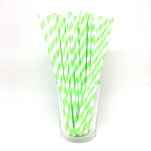 Neon green stripe straws