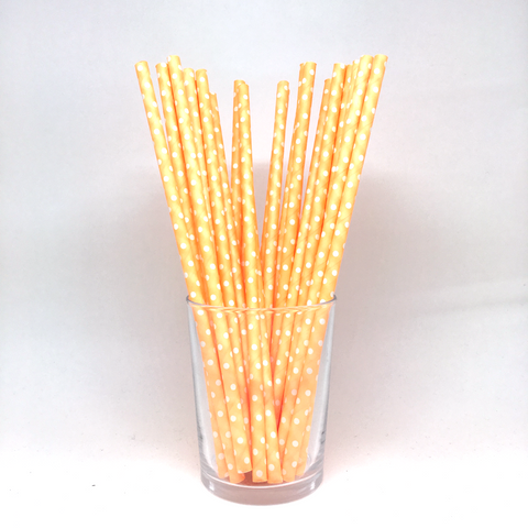 Neon orange dots straws