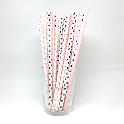 Pink & black dots straws