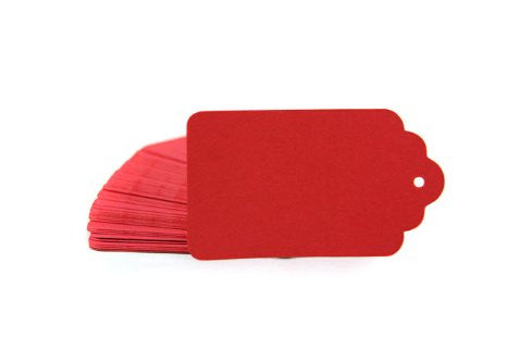 Red scallop tags