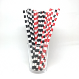 Red and black rugby straws