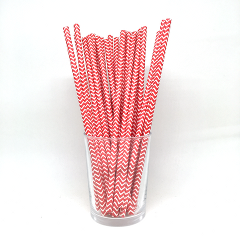 Red chevron straws