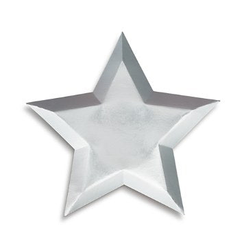 8 silver star paper plate