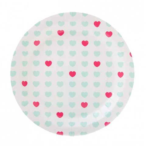 Teal & pink heart plates