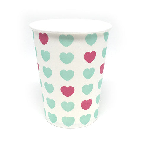 Teal and pink heart cups