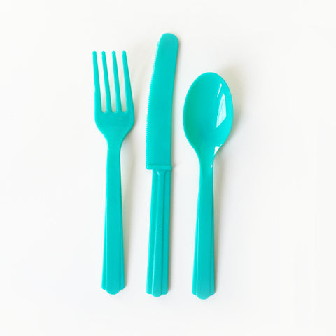 Teal cutlery set