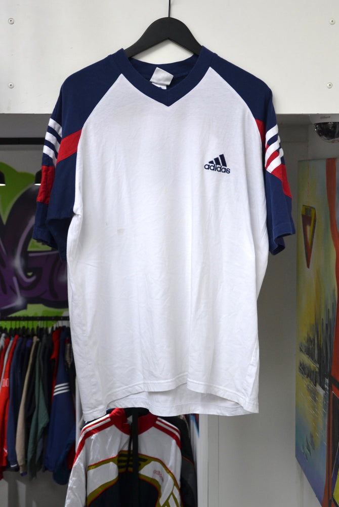 Vintage Adidas V-Neck T-Shirt Large