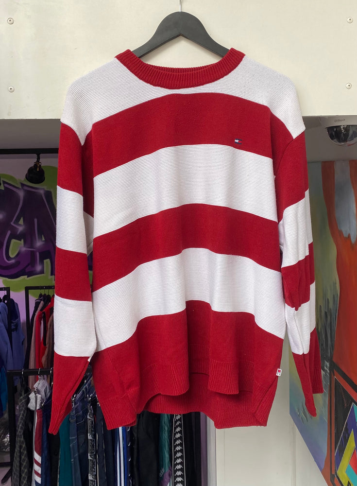 Vintage Striped Tommy Hilfiger Sweatshirt Large
